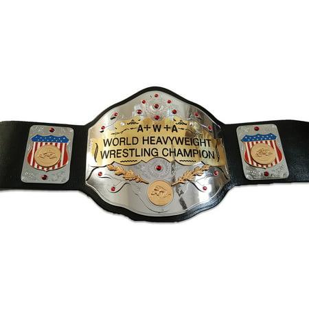 A+W+A World Heavyweight Championship Replica Title Belt - Brass Metal 4mm Plates