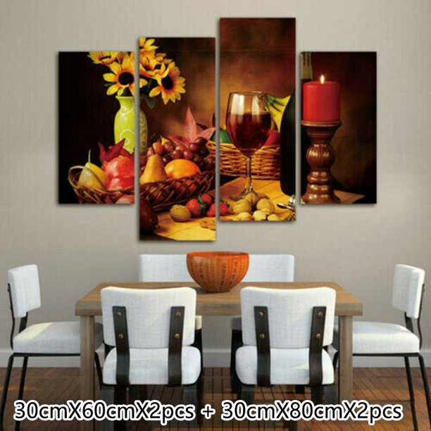 Fruits And Red Wine Canvas Painting Wall Art Picture Poster Dining Room Decor Walmart Com Walmart Com