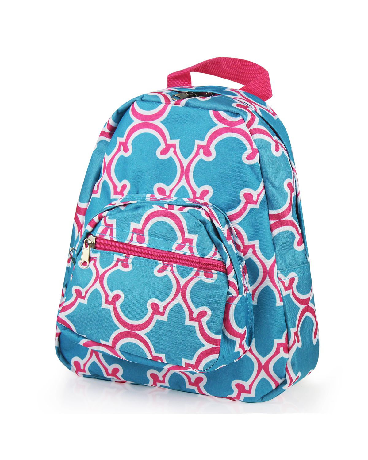Kids Small Backpack by Zodaca Bright Stylish Outdoor Shoulder School Zipper Bag Adjustable Strap Blue Quatrefoil by