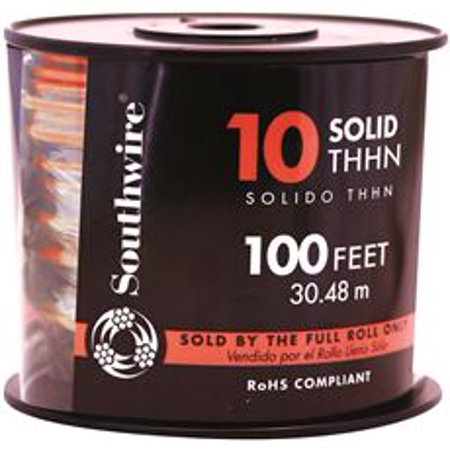Southwire Simpull Thhn, 10 Gauge Thhn Solid Wire, Red, 100 Ft. Per Roll