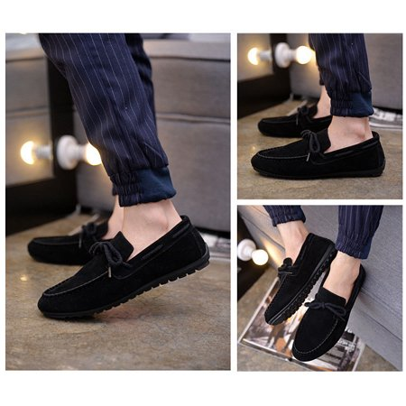 Fahison Mens Casual Slip On Shoes Leather Boat Deck Loafers Driving