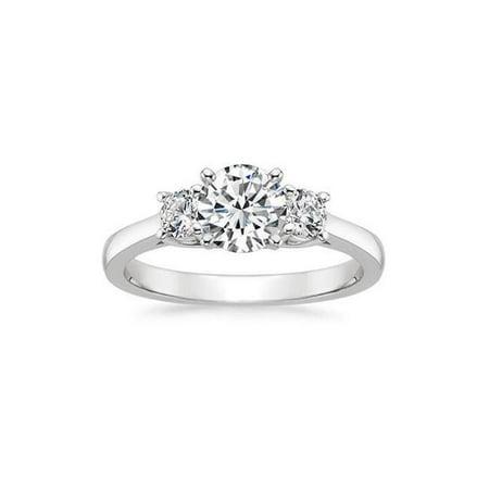 Harry Chad Enterprises 55247 3 Carat Three Stone Round Cut Diamonds Engagement Ring - 14K White Gold - image 1 de 1
