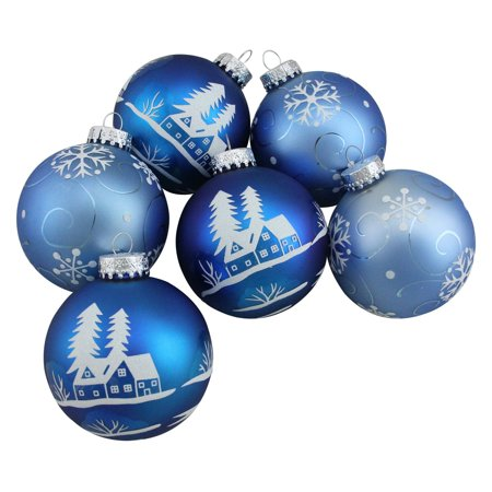 Northlight Shiny Blue with Silver Snowflakes Christmas Ball Ornament - Set of 4 - Blue Snowflakes