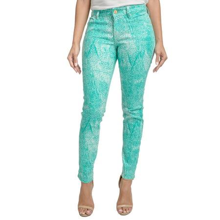 Miss Halladay Women Teal Stretch Denim Skinny Jeans Tree Skin Print Ankle Length