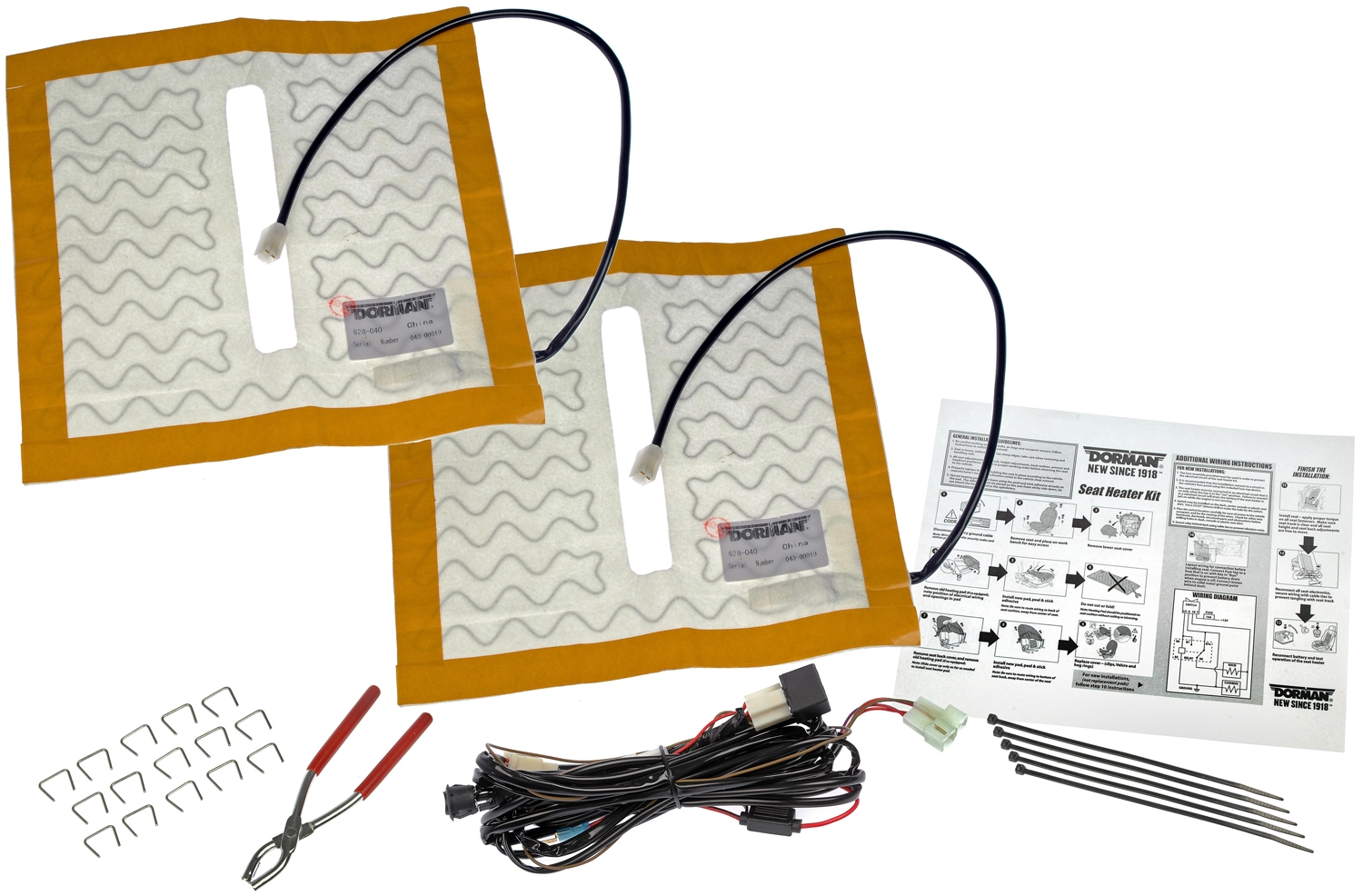 Dorman (OE Solutions) 628-040 Seat Heater OE Solutions (TM) Permanently  Installed; Includes Pads/ Hog Rings/ Pliers/ Switch/ Wiring Harness/  Instructions