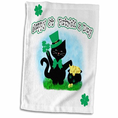 Black Pot Of Gold (3dRose Cute Black Cat Lovers - Happy St Patricks Day Pot of Gold - Towel, 15 by)