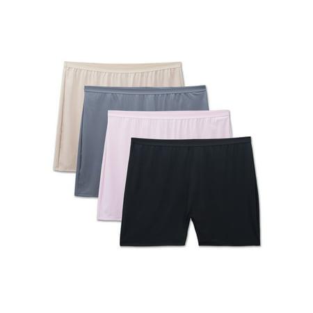 Women's Plus Microfiber Slip Short Panties - 4 Pack (Nylon Panties Plus Size)