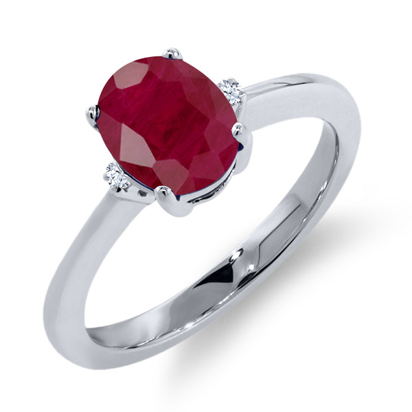 1.93 Ct Oval Red Ruby White Topaz 925 Sterling Silver Ring by