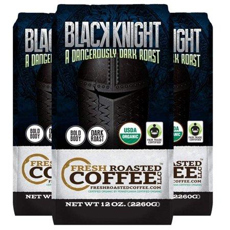 Organic Black Knight Dark Roast Coffee, 12 oz. Whole Bean Bags, Artisan Blend, Fair Trade, Fresh Roasted Coffee LLC. (3 Pack - Whole