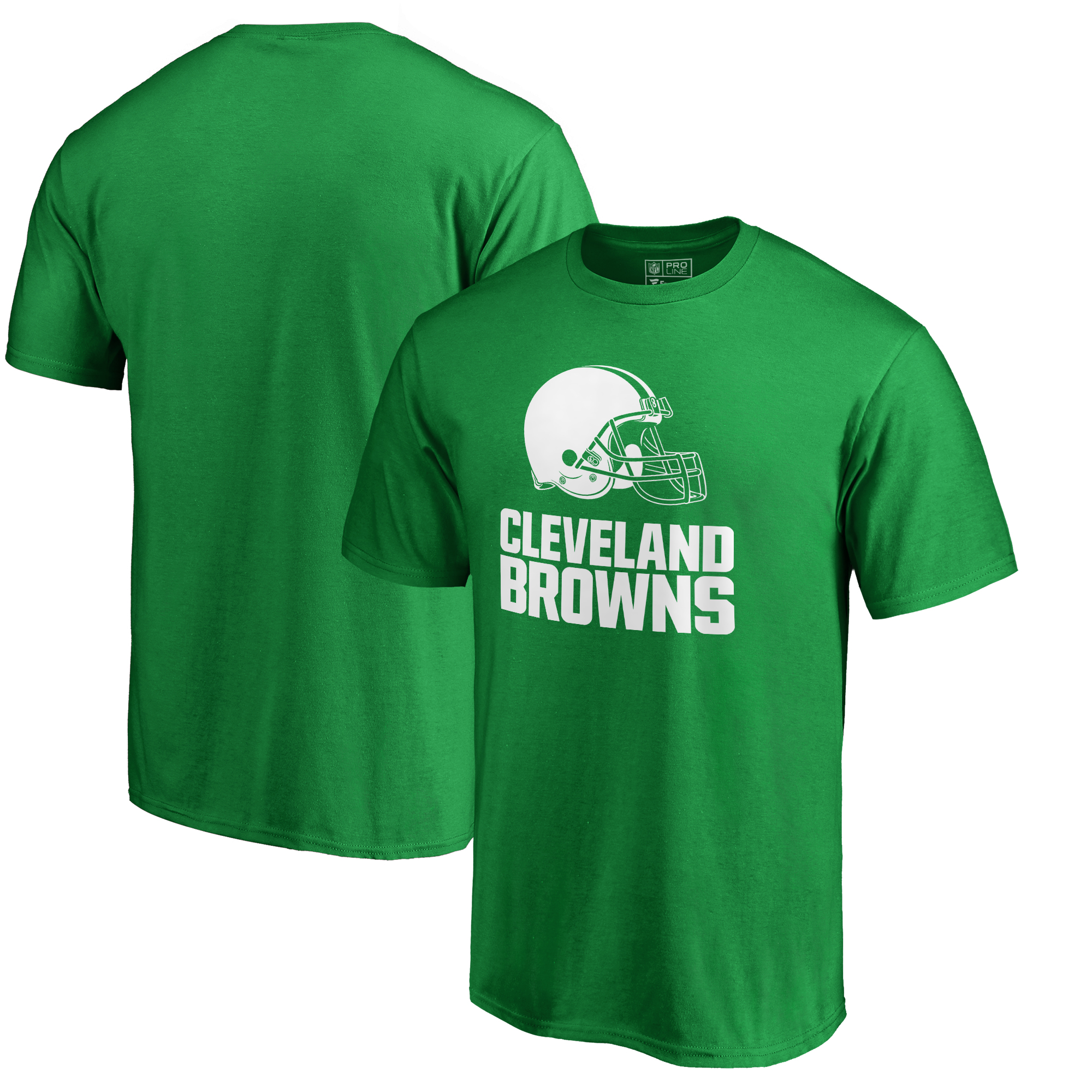 Cleveland Browns NFL Pro Line by Fanatics Branded Big & Tall St. Patrick's Day White Logo T-Shirt - Green