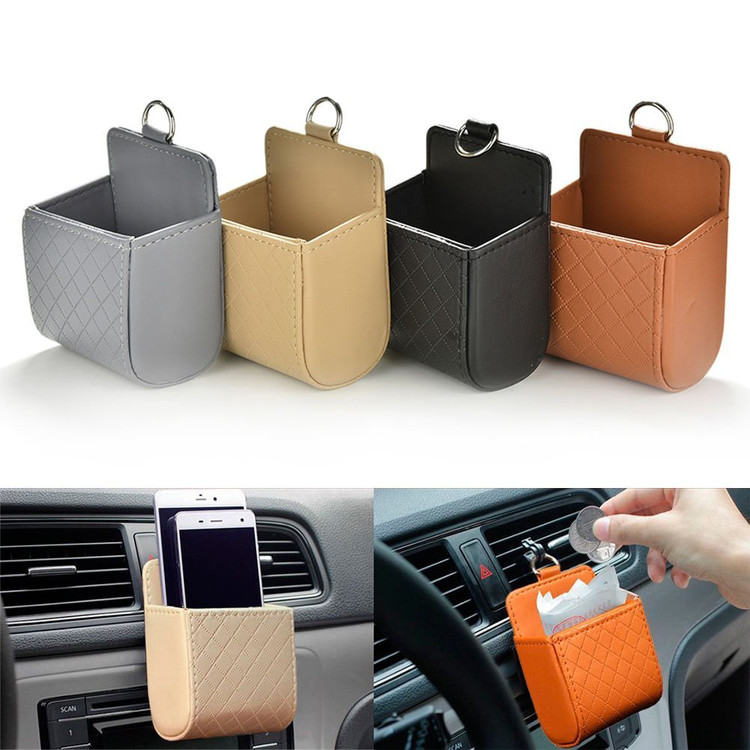 Car Auto Seat Back Interior Air Vent Cell Phone Holder Pouch Bag Box Tidy Storage Coin Bag Case Organizer with Hook, Black