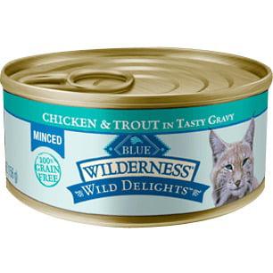 (24 Pack) Blue Buffalo Wilderness Grain-Free Minced Chicken & Trout Recipe Wet Cat Food, 5.5 oz. (Wet Trout)