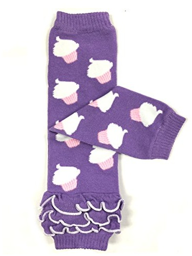 ALLYDREW Funky Prints & Patterns Baby Leg Warmer & Toddler Leg Warmer for Boys & Girls, Purple Ruffle Cupcakes