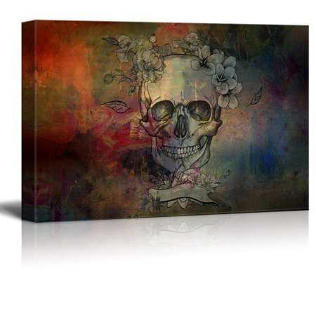 wall26 Canvas Print Wall Art - Day of the Dead (Dia De Los Muertos) Themed Skull with Flowers - Gallery Wrap Modern Home Decor | Ready to Hang - 16x24 inches