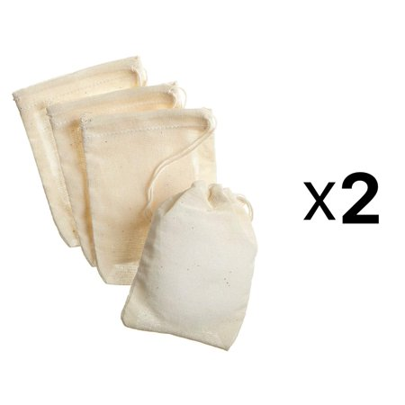 Regency Spice Bags - 8 Pack, 3 x 4 inch 100% cotton muslin bags with drawstring tops for bouquet garnish By Regency Wraps Cotton Muslin Drawstring Bags