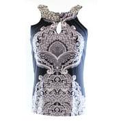 INC NEW Navy Blue White Women's Size XS Tidal Paisley Jeweled Blouse $59