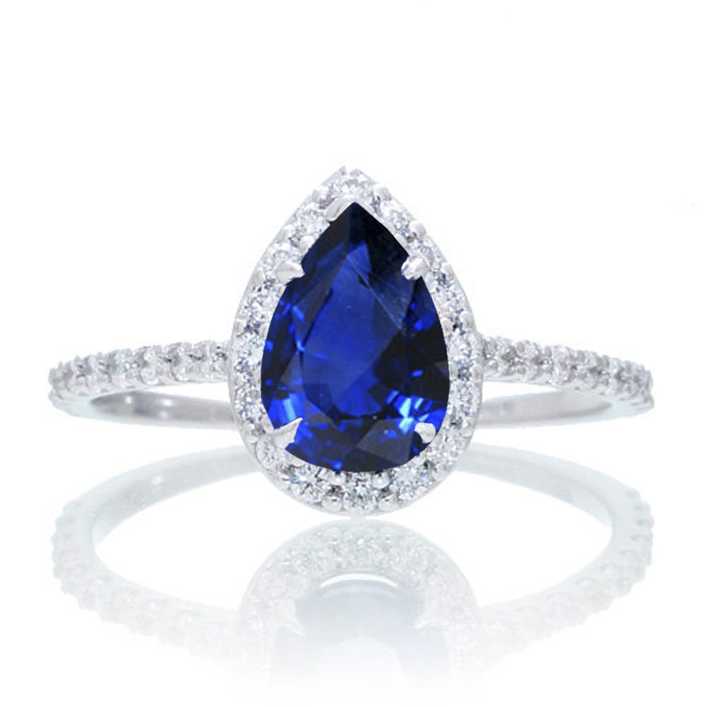 15 Carat Classic Pear Cut Sapphire With Diamond Celebrity Engagement Ring  On 10k White Gold  Walmart