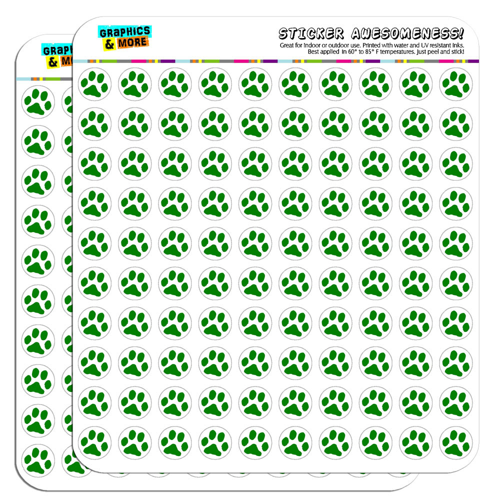 Paw print green 1 2 0 5 scrapbooking crafting stickers