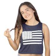 True Rock USA Flag Print Women's Blue Crop Top NEW Sizes S-L