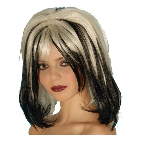 Adult Womens  Blonde And Black Wicked Wig Costume - Black Blonde Wig