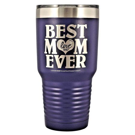 GIFT FOR MOM â?? â??BEST MOM EVER - LOVE YOUâ? GK Grand Engraved Stainless Steel Vacuum Insulated Tumbler Travel Coffee Mug Hot & Cold Drink Wine Mothers Day Birthday Christmas (Purple, 30oz)