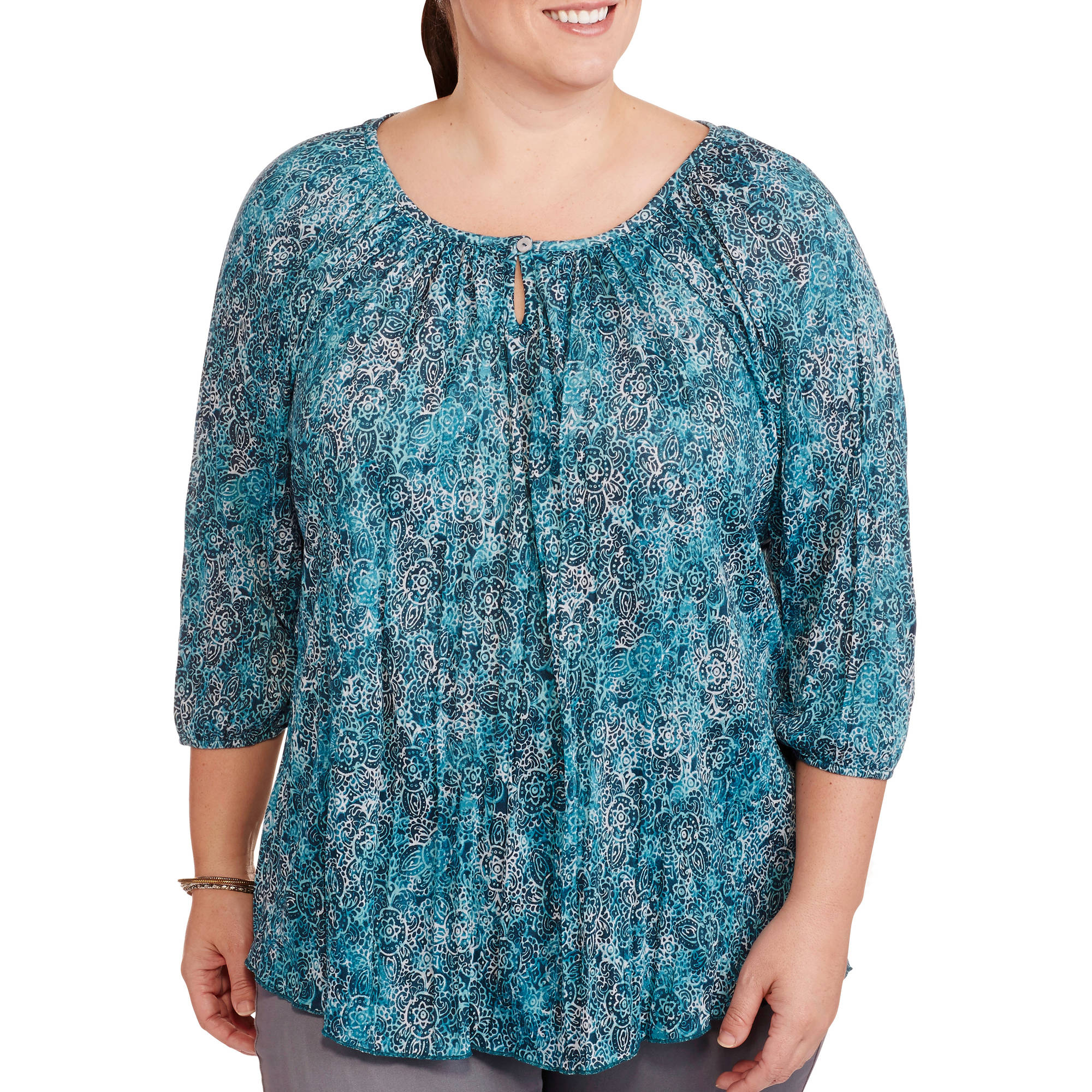 Women S Plus Size Printed Crinkle Peasant Top Walmart Com