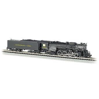 Bachmann Industries C&O Kanawha #2724 N Scale 2-8-4 Berkshire Steam Locomotive & Tender