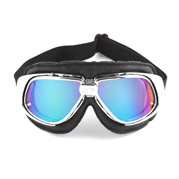 Black Chrome Vintage Aviator Style Motorcycle Scooter Goggles Clear Lens