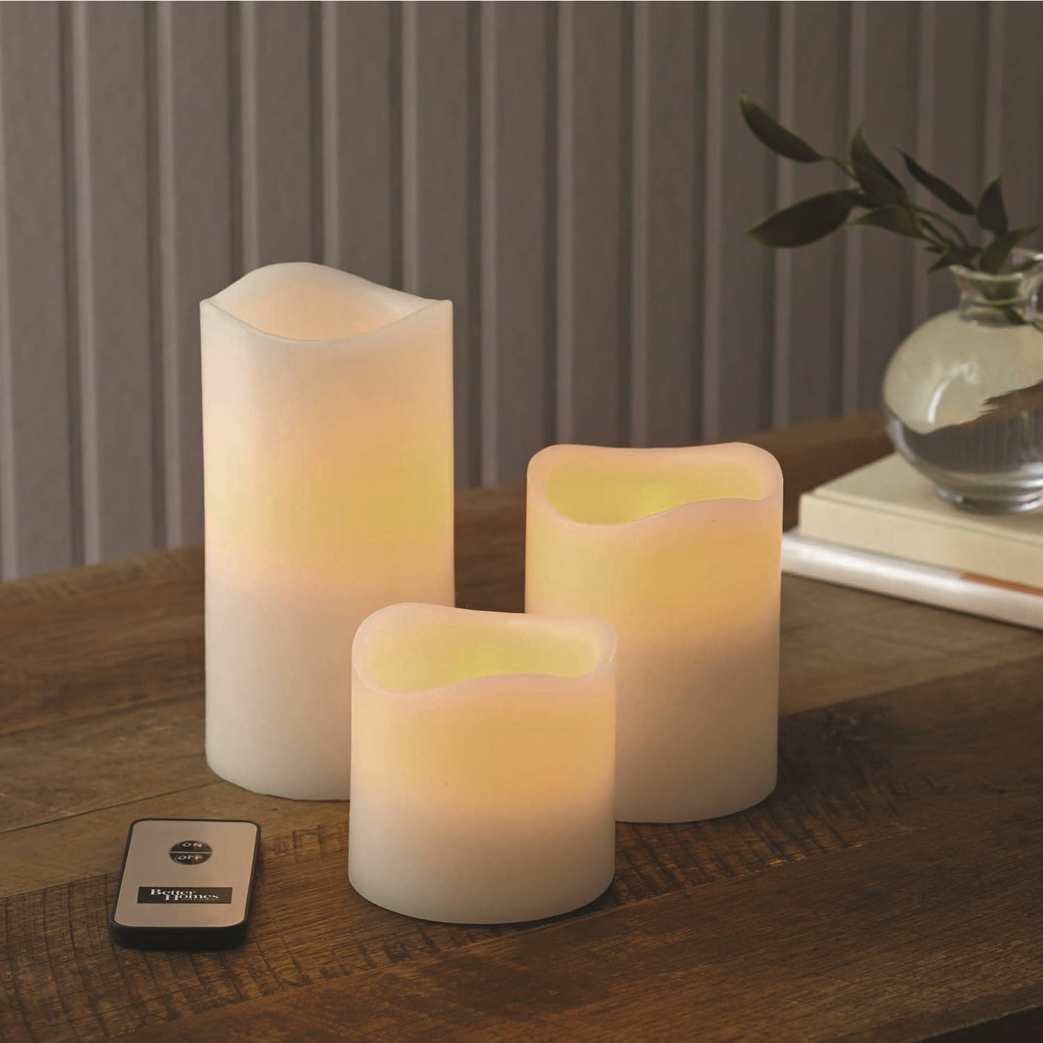 Better Homes and Gardens Flameless LED Pillar Candles, 3pk, Vanilla