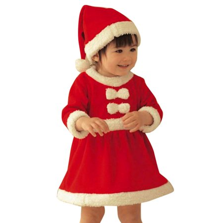 Mosunx Toddler Kid Baby Girl Christmas Clothes Costume Bowknot Party Dresses+Hat Outfit for $<!---->