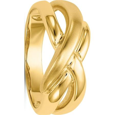14k tourbillon d'or poli et satin jaune Traversant D?me Anneau - image 5 de 5