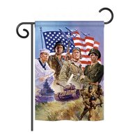 "Breeze Decor G161072-BO The Armed Forces Americana Patriotic Impressions Decorative Vertical 13"" x 18.5"" Double Sided Garden Flag Printed In USA"