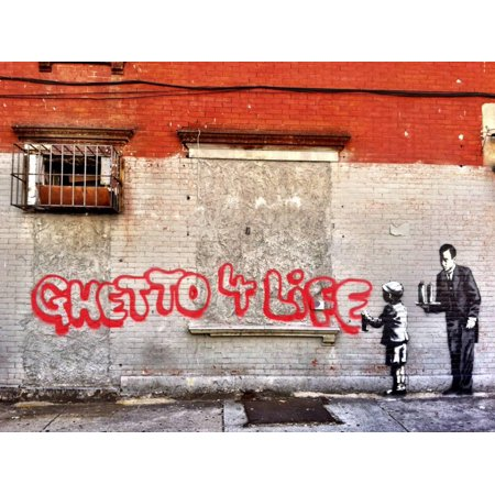 Ghetto for LIfe Banksy Pop & Urban Stencil Street Graffiti Art Print Wall Art By Banksy](Stencil Wall Art)