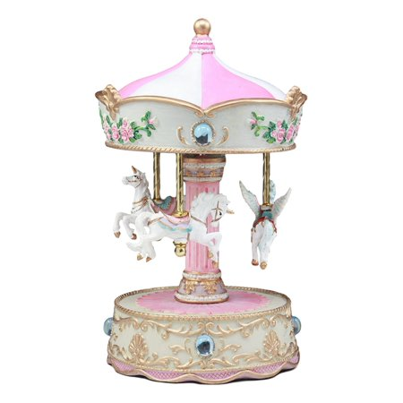 "Ebros Carnival Merry Go Round Unicorns And Pegasus Horse Musical Carousel Statue Playing ""Toyland"" Tune 8.25""Tall Clockwork Mechanism Mythical Fantasy Home Decor"