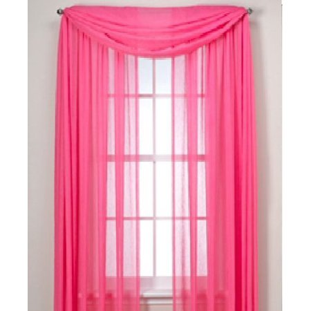 MONAGIFTS 2 PANELS HOT PINK Sheer Voile Window Panel Curtains 59 WIDTH X 84
