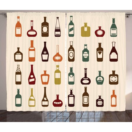 Alcohol Curtains 2 Panels Set, Bottles of Various Alcoholic Strong Drinks Pattern with Whiskey Brandy and Cognac, Window Drapes for Living Room Bedroom, 108W X 84L Inches, Multicolor, by Ambesonne