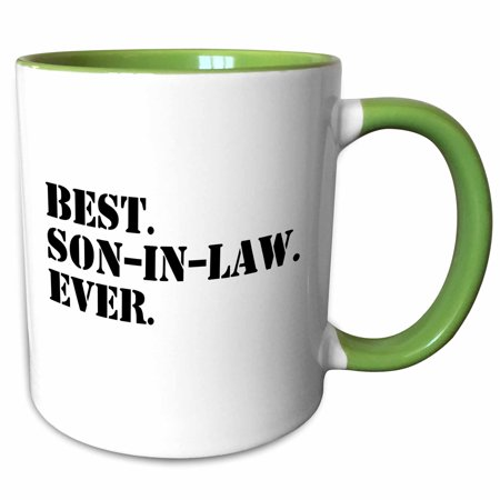 3dRose Best Son in Law Ever - fun inlaw gifts - family and relative gifts - Two Tone Green Mug,
