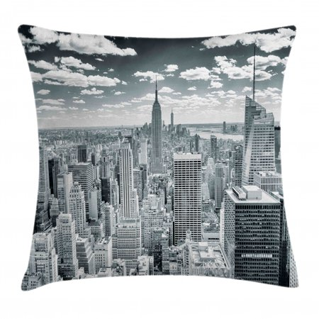 New York Throw Pillow Cushion Cover, NYC over Manhattan from Top of Skyscrapers Urban Global Culture Artful City Panorama, Decorative Square Accent Pillow Case, 16 X 16 Inches, Grey, by Ambesonne (Nyc Decorative Pillows)