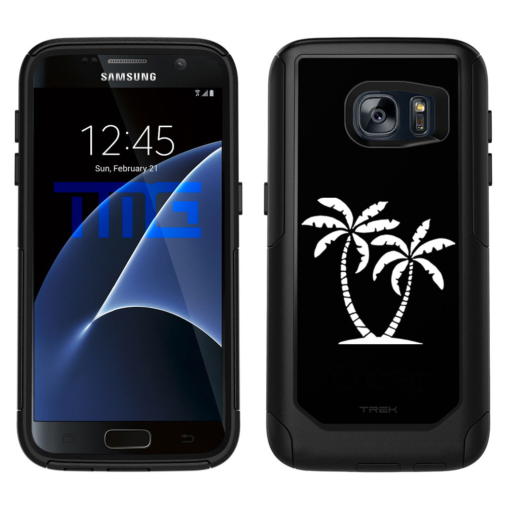 SKIN DECAL FOR OtterBox Commuter Samsung Galaxy S7 Case - Silhouette Tropical Palm Trees on Black DECAL, NOT A CASE