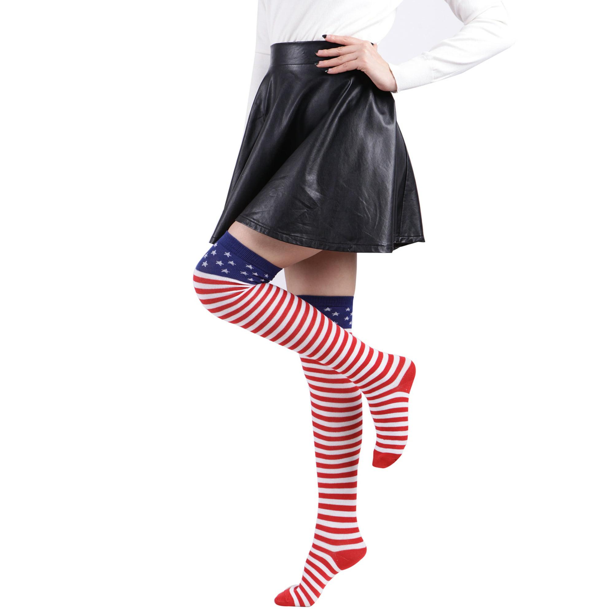1fdc6d729 HDE Womens Striped Socks School Team University Colors OTK Long Knee High  socks (Orange and White)