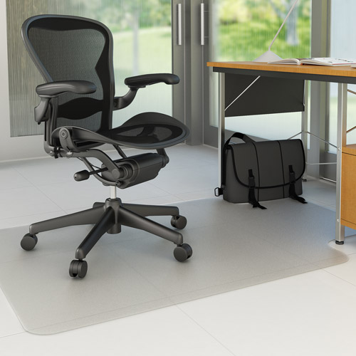 "Deflecto 45"" x 53"" EconoMat Anytime-Use Chair Mat for Hard Floor, with Lip, Clear"