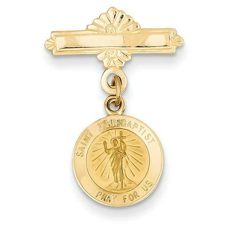 14k Saint John the Baptist Medal Pin (Baptist Medal Pin)