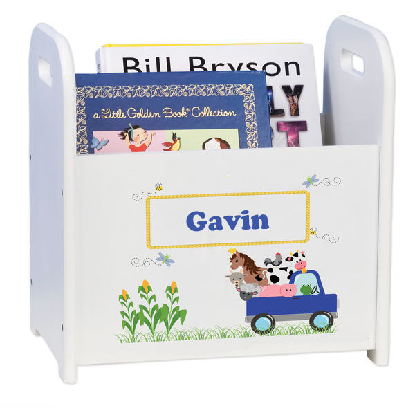 Personalized Blue Farm Truck Caddy and Book Rack