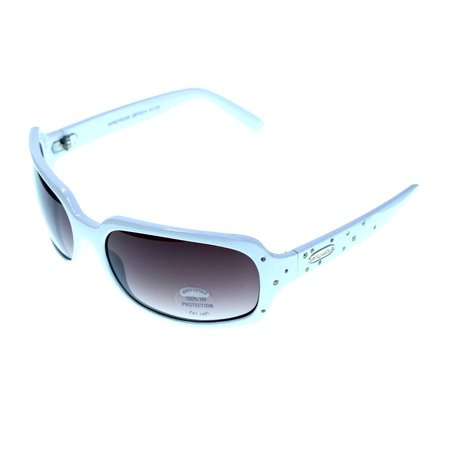 UV protection Goggle-Sunglasses With Crystal Accents White & Purple Colored #3945 (Rx Sunglasses)