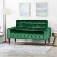 Aubrie Tufted Velvet Loveseat with Gold Tipped Tapered Legs, Emerald and Gold Finish
