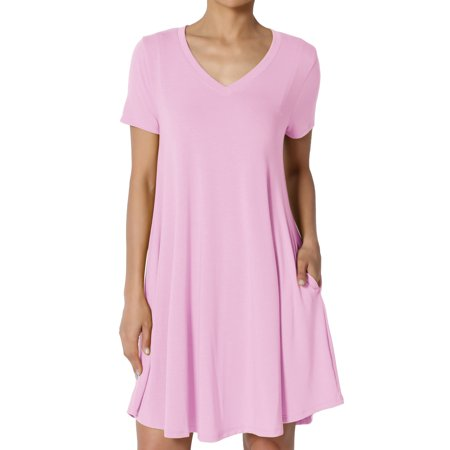 TheMogan Women's S~3X Short Sleeve V-Neck Draped Trapeze Pocket Short Tunic - Pink Ladies Dresses