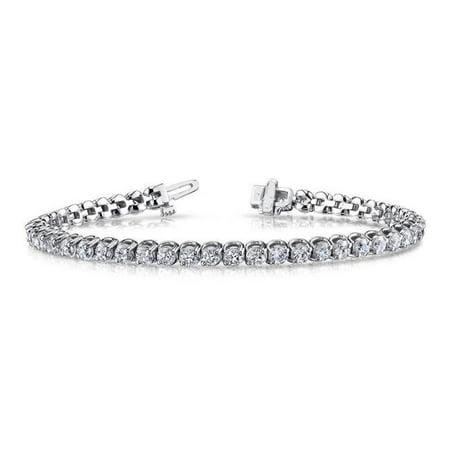 Harry Chad Enterprises 22594 6.50 CT Two Prong Set Round Cut Diamonds 14K White Gold Tennis Bracelet 2 Prong Diamond Tennis Bracelet