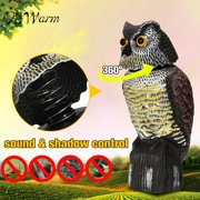 Simulated Owl Scarecrow Rotating Head Fake Hunting Shooting Decoy Bird Scare Sound & Shadow Control Pest Repellent Garden Protector