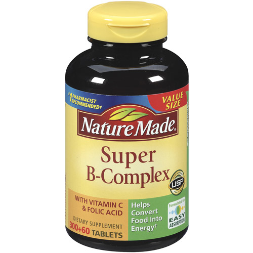 Nature Made Super B-Complex Dietary Supplement With Vitamin C & Folic Acid, 360ct