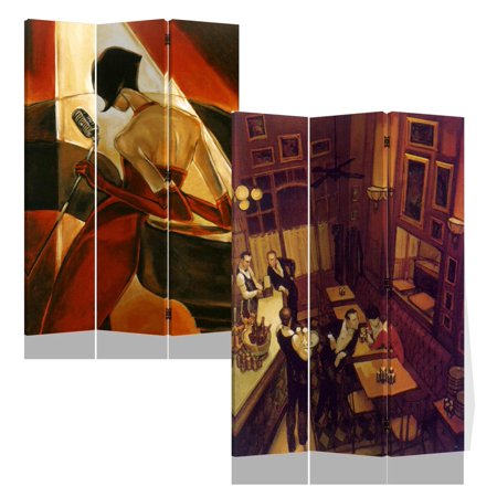 Roundhill 3-Panels Double Sided Canvas Painting Room Divider Screen, Night at Bar ()